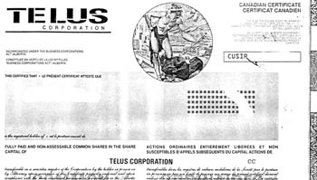 Copy of Telus Share Certificate